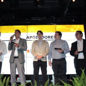 Apoiadores: prof. Alfredo Gontijo de Oliveira, presidente da Fundep; Leonardo Dias, subsecretário da Sedectes; Thales Linke, Fapemig;  Anízio Vianna, Sebrae-MG; Jorge Guimarães, BDMG