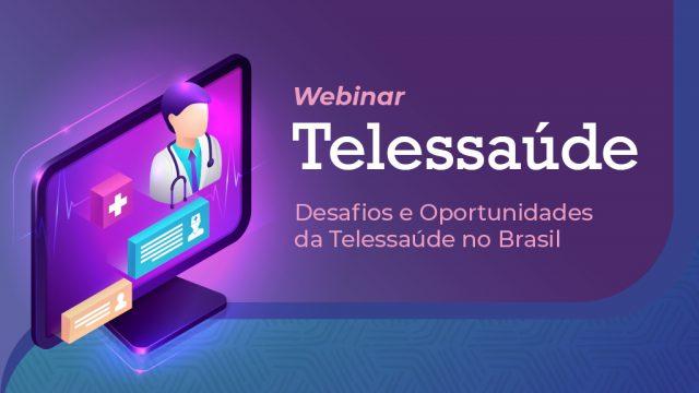 """Imagem mostra um monitor de computador com uma pessoa de jaleco, com as palavras """"Webinar Telessaúde"""""""