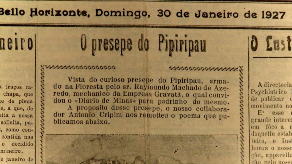 Símbolo da Cultura. Jornal com texto de Carlos Drummond de Andrade: O pressepe do Pipiripau