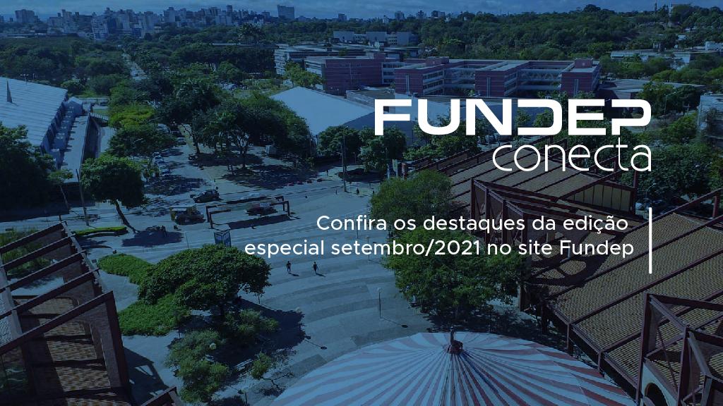 Newsletter Fundep Conecta. A imagem mostra uma vista superior da Praça de Serviços da UFMG com uma sobreposição azul e o logo da Fundep Conecta.